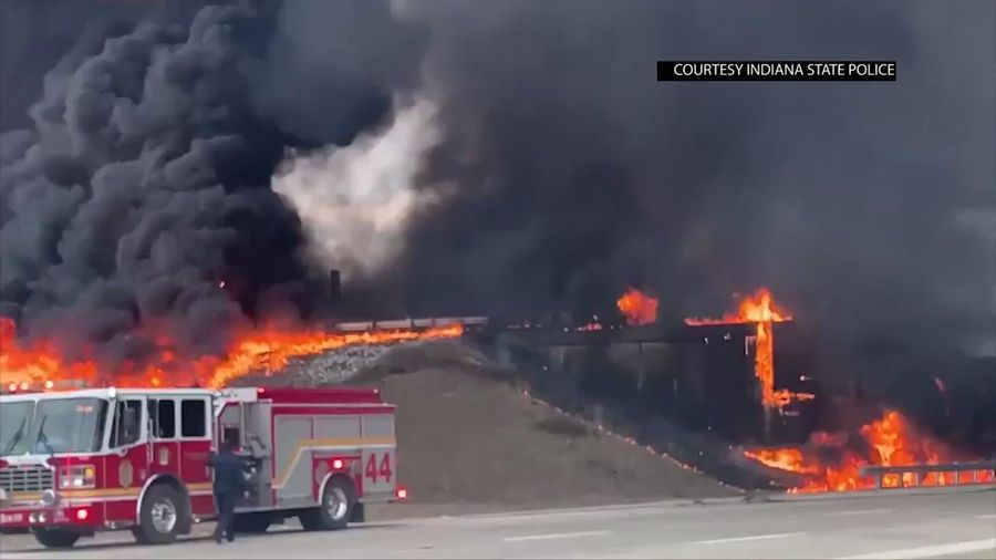 Tanker truck crashes and burns on Indiana highway