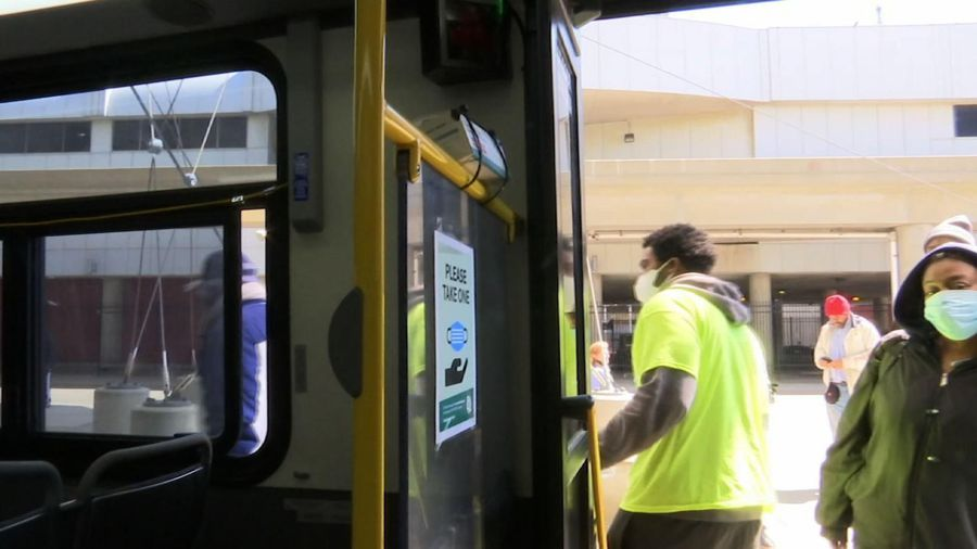 Detroit bus riders given free surgical masks