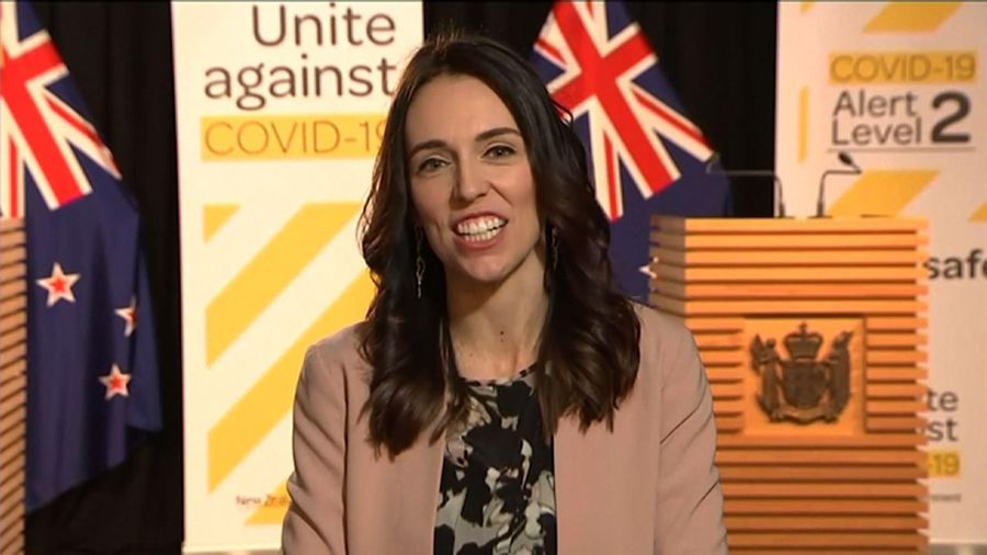 New Zealand Prime Minister on TV during earthquake