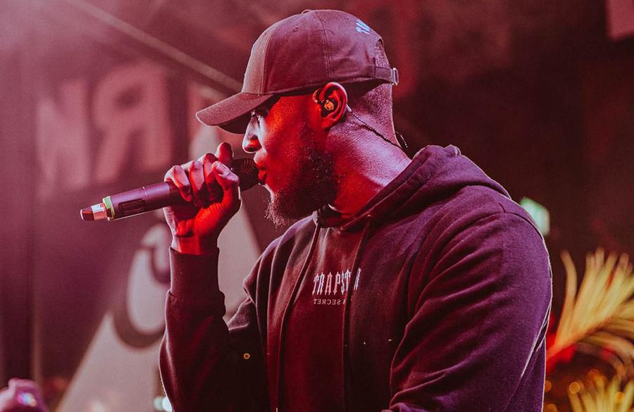 Stormzy fights the tears during performance of Lessons