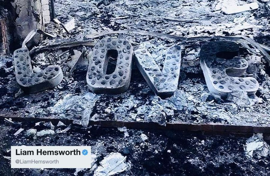 Liam Hemsworth shares picture of house remains