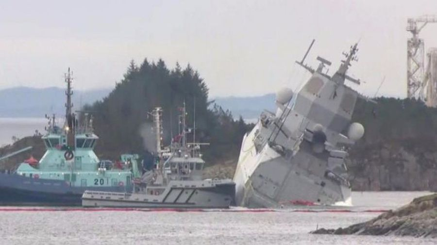 Norwegian frigate lists after collision