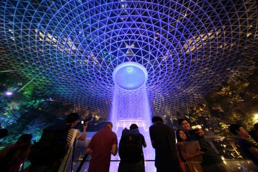 World's tallest indoor waterfall opens in airport