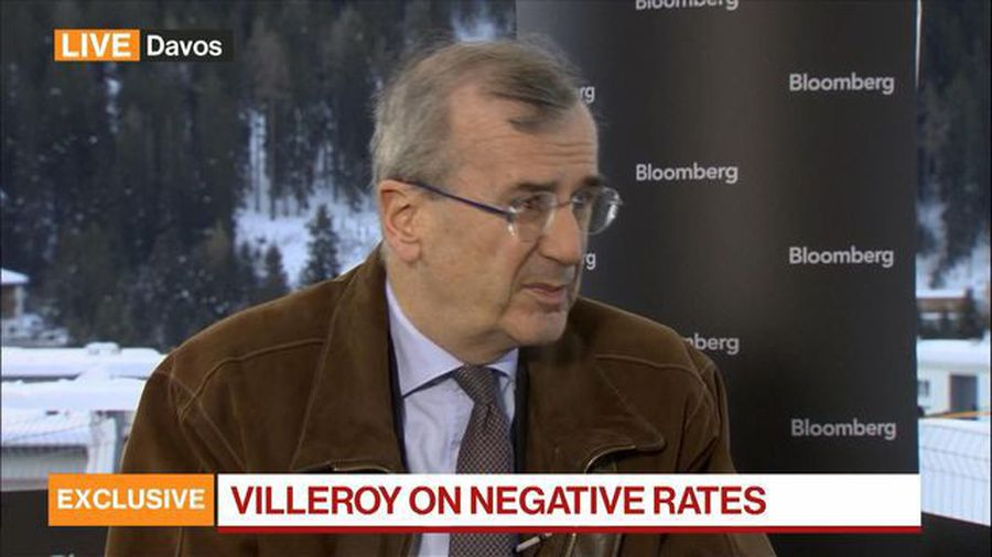Bank of France Governor on ECB's Strategic Review, Negative Rates