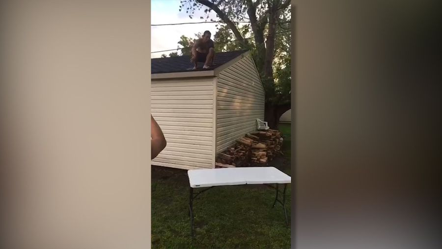 Jumping into a table... from the roof!