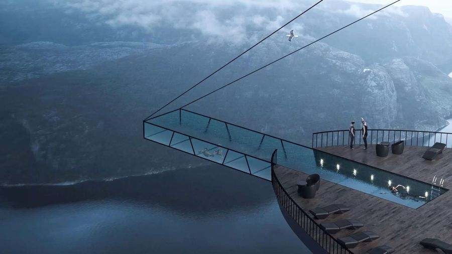 Living on the edge: Stunning hotel concept hangs off a Norwegian cliff