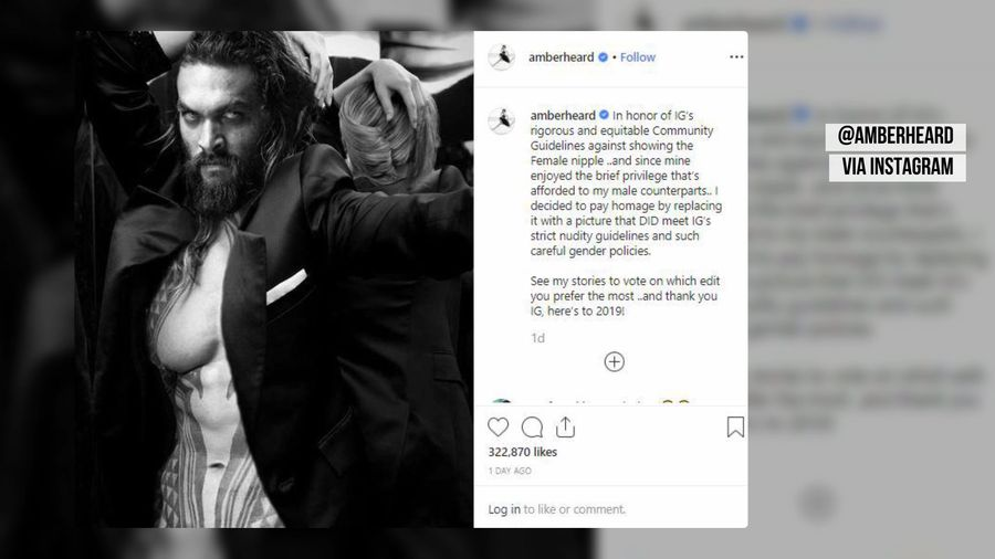 Amber Heard uses Jason Momoa's pecs to make a point about Instagram's nudity policy
