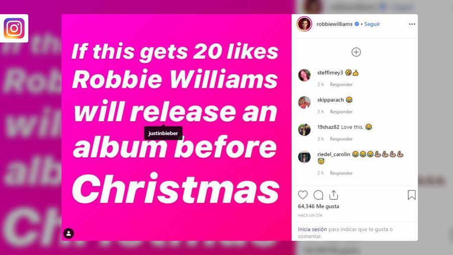 Robbie Williams trolls Justin Bieber with Christmas album release post