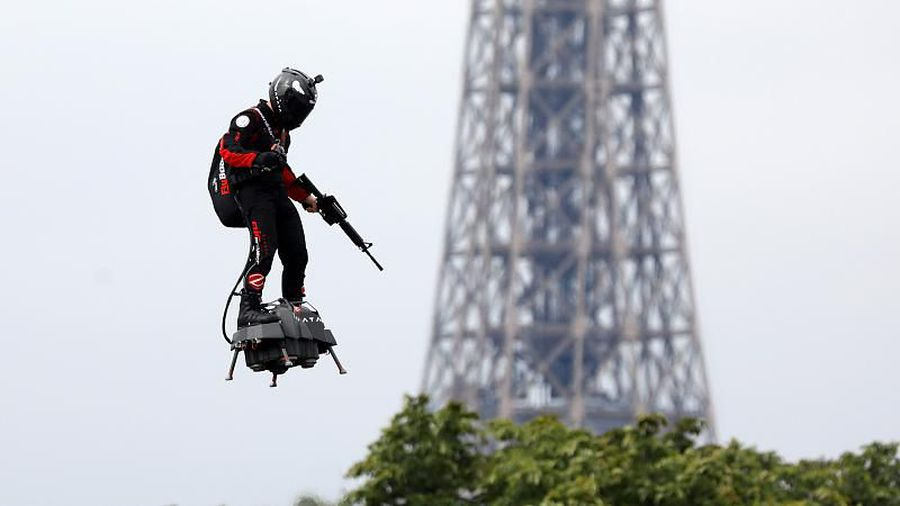 Watch: Onboard footage from jet-powered flyboard during Bastille Day celebrations