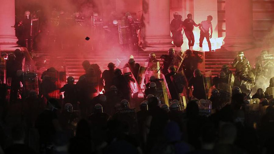 Hundreds try to storm Serbian parliament as anti-Vucic protests heat up