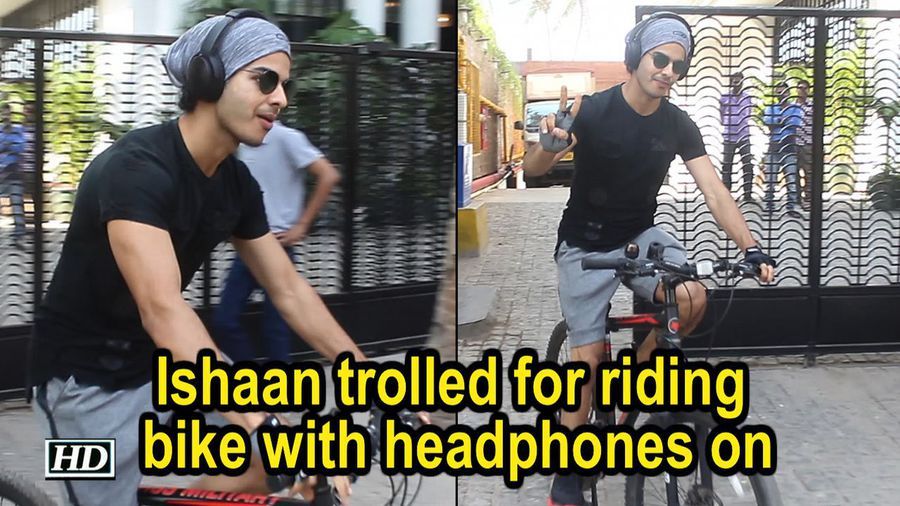 Ishaan Khattar trolled for riding bike with headphones on