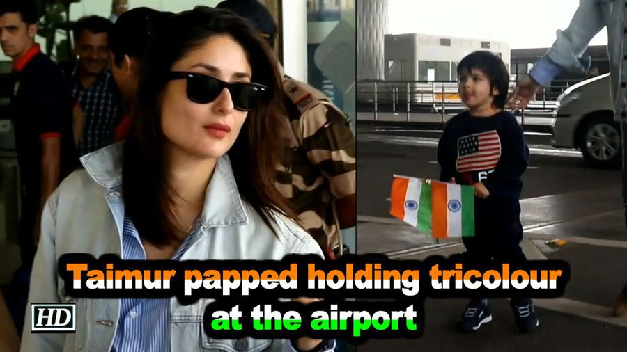 Taimur papped holding tricolour at the airport