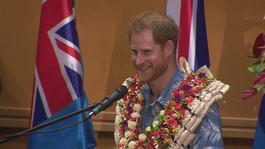 Prince Harry gives climate change speech during Fiji visit