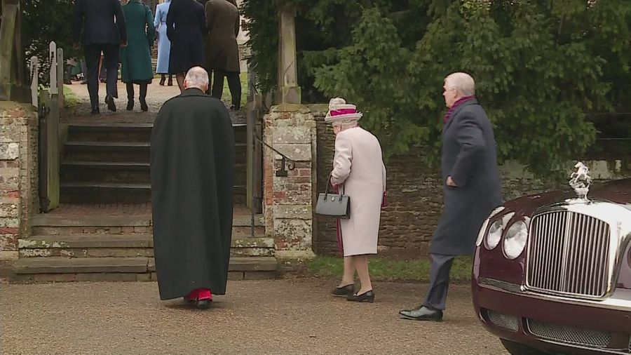 Queen arrives at Sandringham Church on Christmas Day