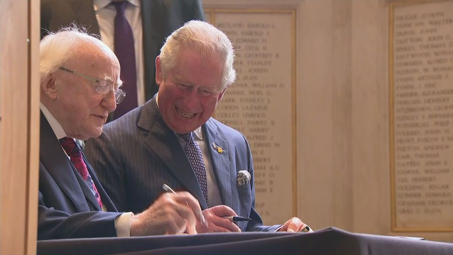 Charles and Camilla join Irish president for Liverpool visit