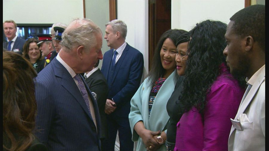 Charles meets Makaziwe Mandela at St George's Hall Liverpool
