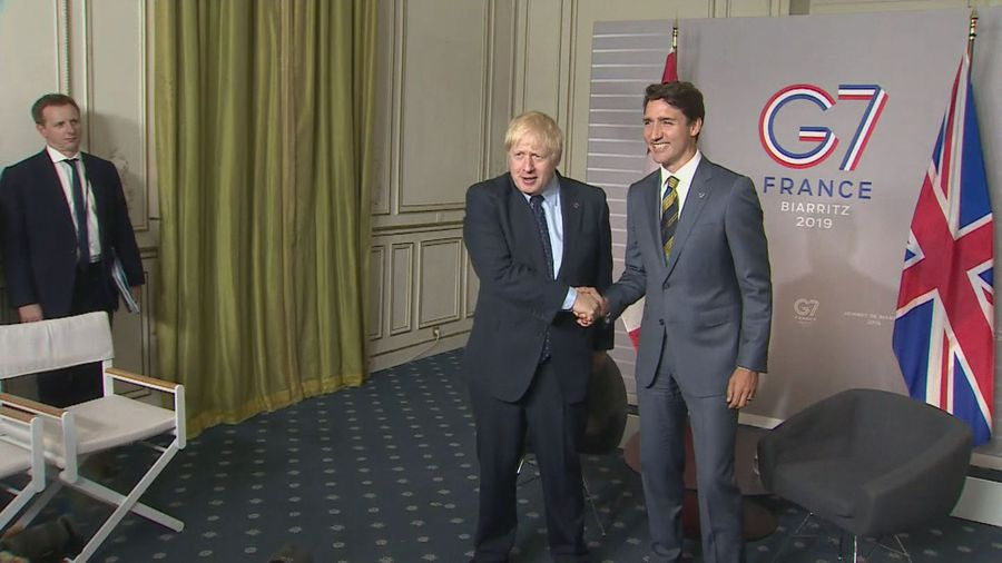 Boris Johnson sits down with Justin Trudeau at G7 summit