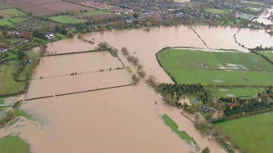 Aerials over Evesham show devastation of flood damage