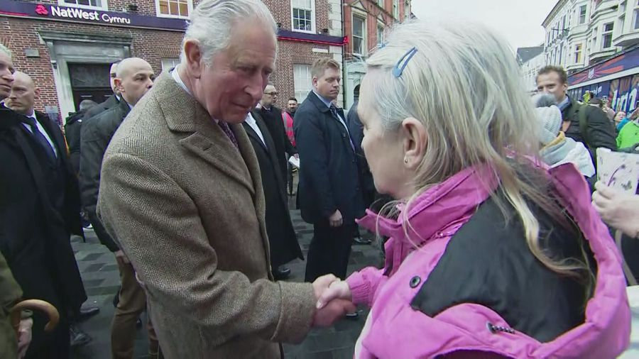 Prince Charles visits flood affected residents of Pontypridd