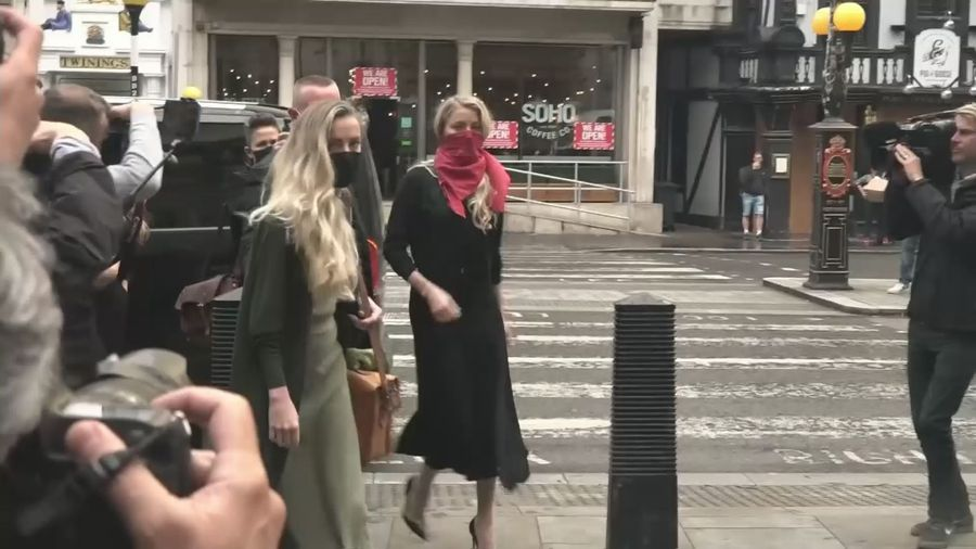 Amber Heard arrives at High Court for second day of hearings