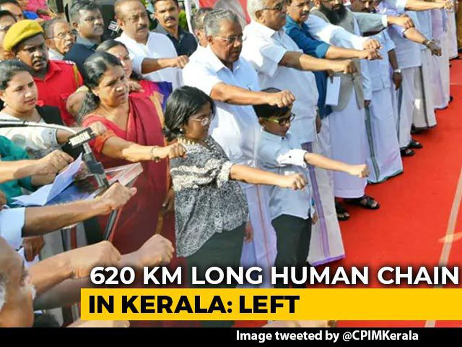 Kerala Chief Minister, Newly Weds In 620-Km Human Chain Against Citizenship Law