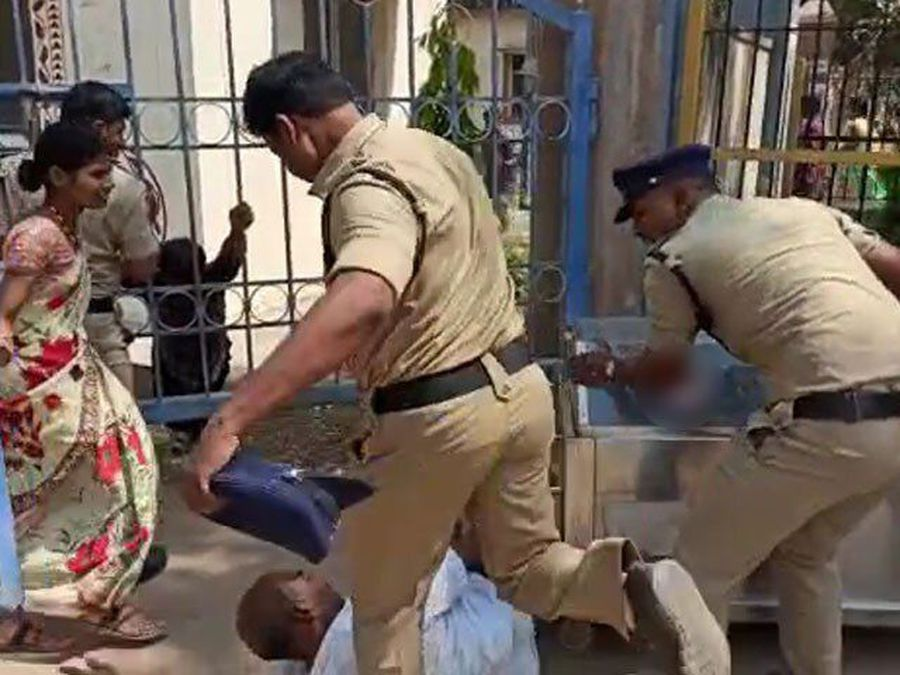 Telangana Cop Caught On Video Kicking Grieving Father Of Teen Who Died