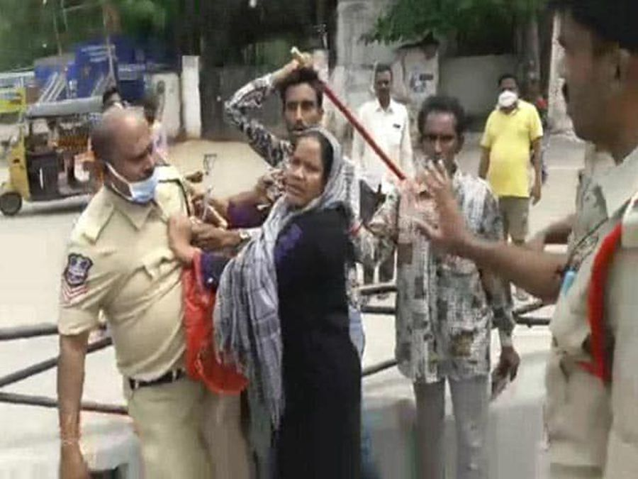 On Camera, Woman Holds Hyderabad Cop By His Collar; Video Goes Viral