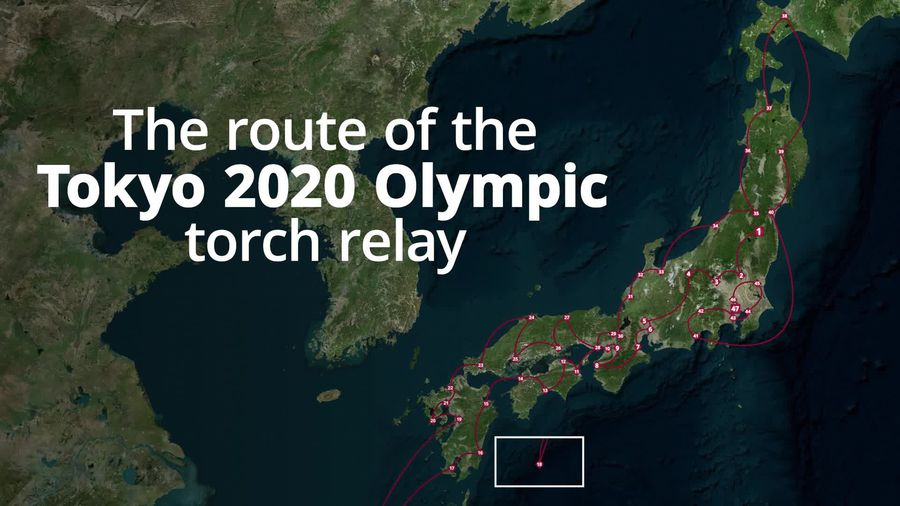 The route of the Tokyo 2020 Olympics torch relay