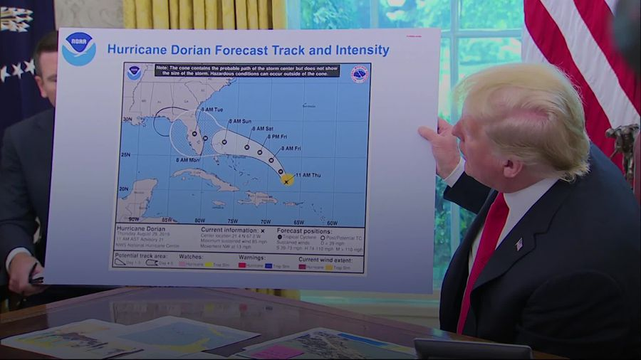 President Trump shows altered hurricane map including much more of the US affected by the terrifying
