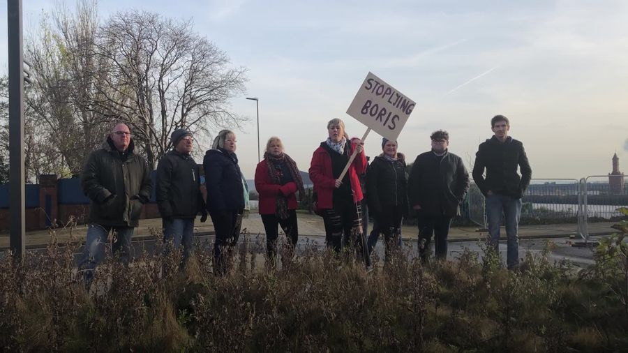 Teeside residents protests against Boris Johnson