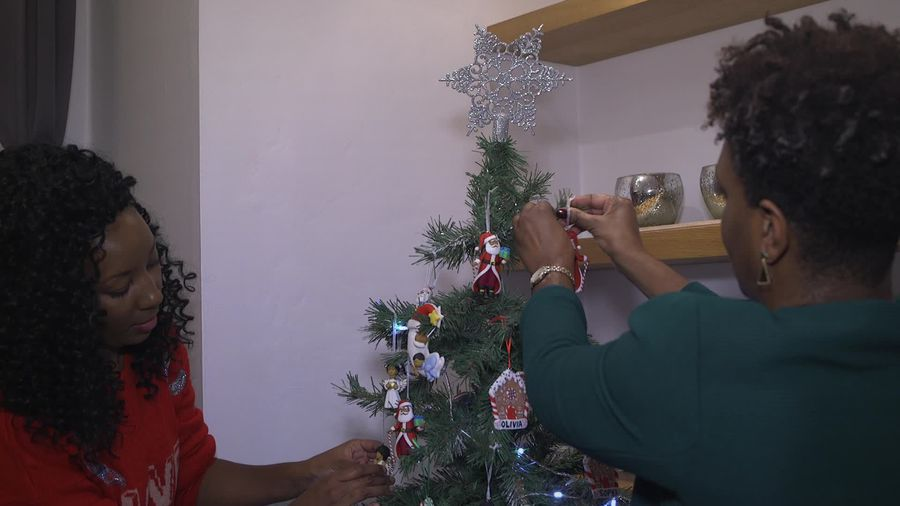 The women transforming a white Christmas into a colourful one