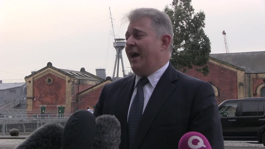 Brandon Lewis makes his first visit to Belfast as Northern Ireland secretary
