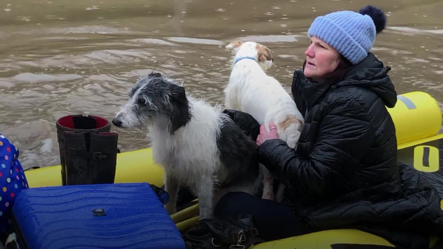 Storm Dennis: Residents and their pets evacuated from flood-hit areas