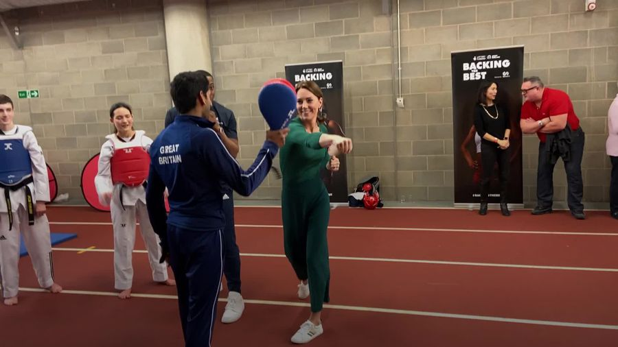 Kate shows her punching power at London's Olympic Park