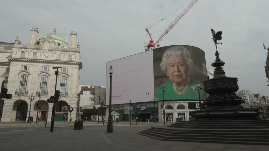 Queen's message of hope displayed in Piccadilly Circus