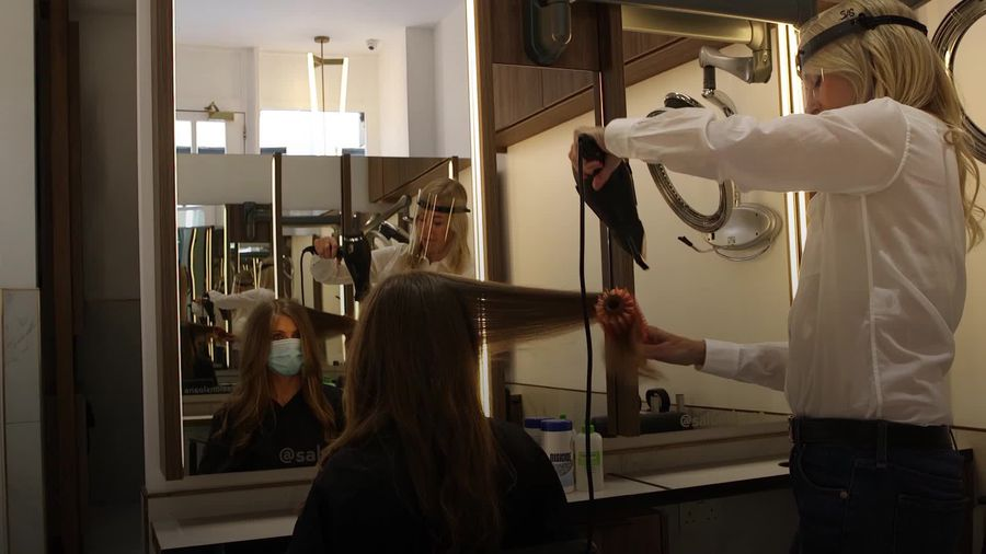 London hairdressing salon prepares to reopen on 'Super Saturday'