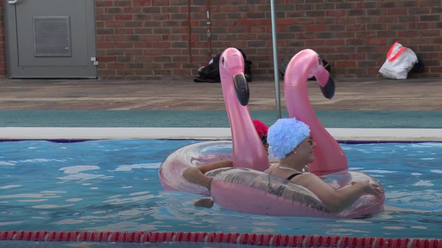 Swimmers return to some outdoor pools in England