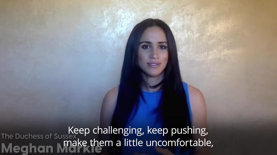 Meghan urges young women to challenge leaders to create positive change