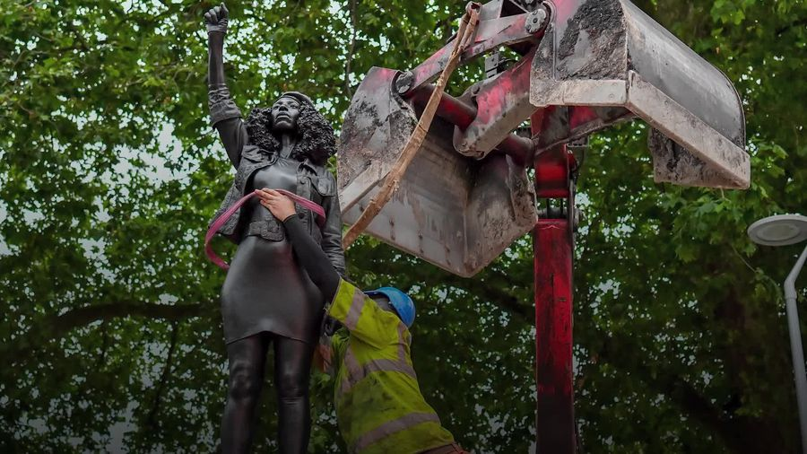 Sculpture of Black Lives Matter protester removed from Colston plinth