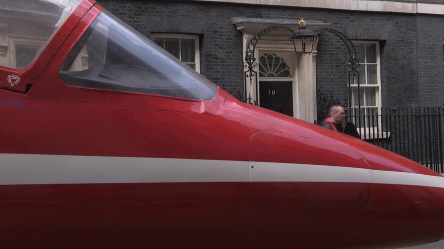 Red Arrows replica jet arrives in Downing Street