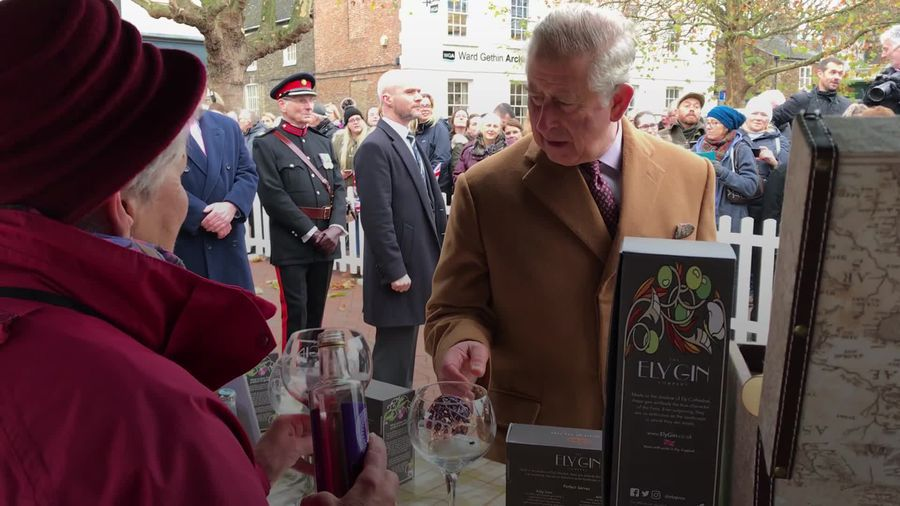 Prince Charles tries local gin in Ely