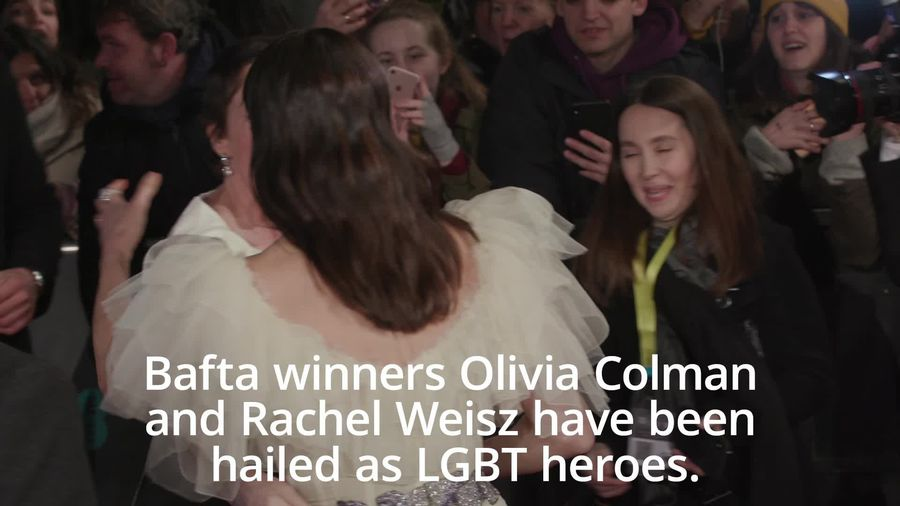 Rachel Weisz and Olivia Colman show LGBT support on Bafta red carpet