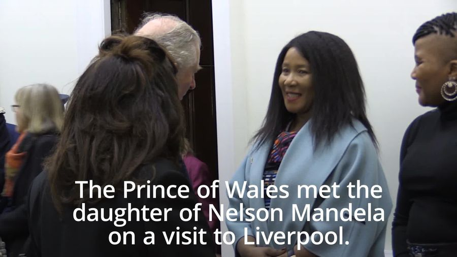 Charles meets Nelson Mandela's daughter during Liverpool visit