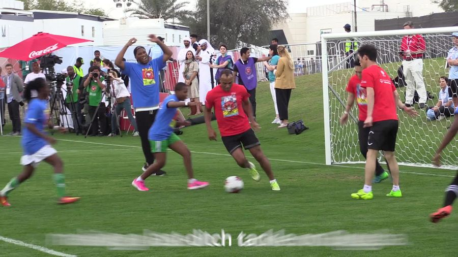 Drogba and Cafu go head to head in game with Special Olympics athletes