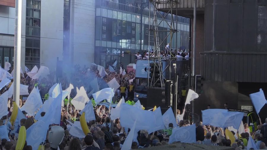 Manchester City players celebrate season with trophy parade