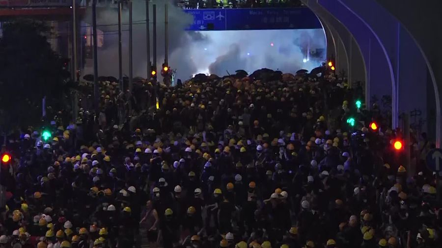 Hong Kong police use tear gas on protesters