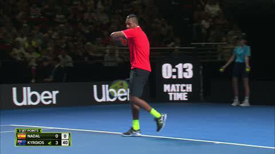 Kyrgios bts. Nadal in entertaining Fast4 exhibition game in Sydney