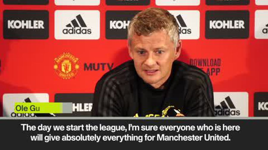 Solskjaer coy on new signings when asked if his squad was already complete ahead of the new EPL s...