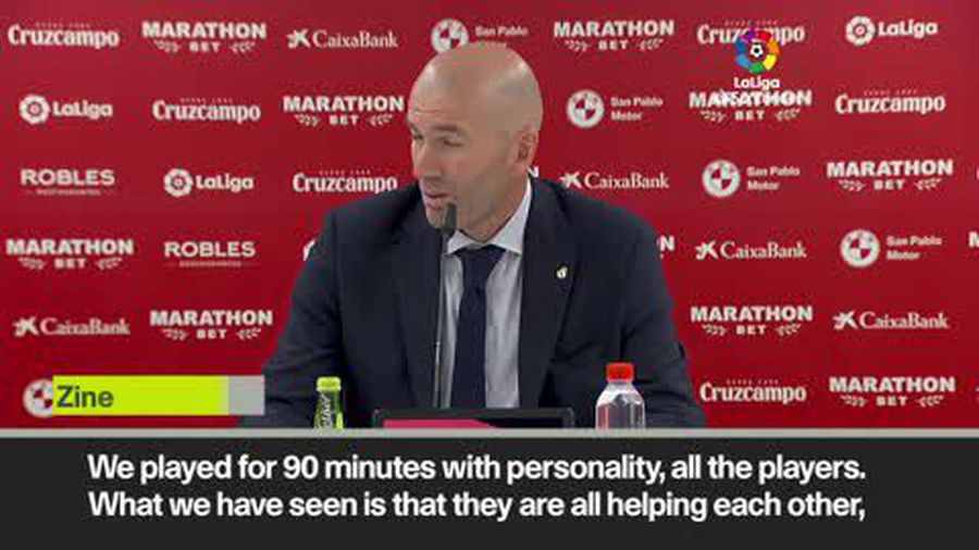 """""""We played as a group"""" Zidane happy with Real Madrid after win at Sevilla"""