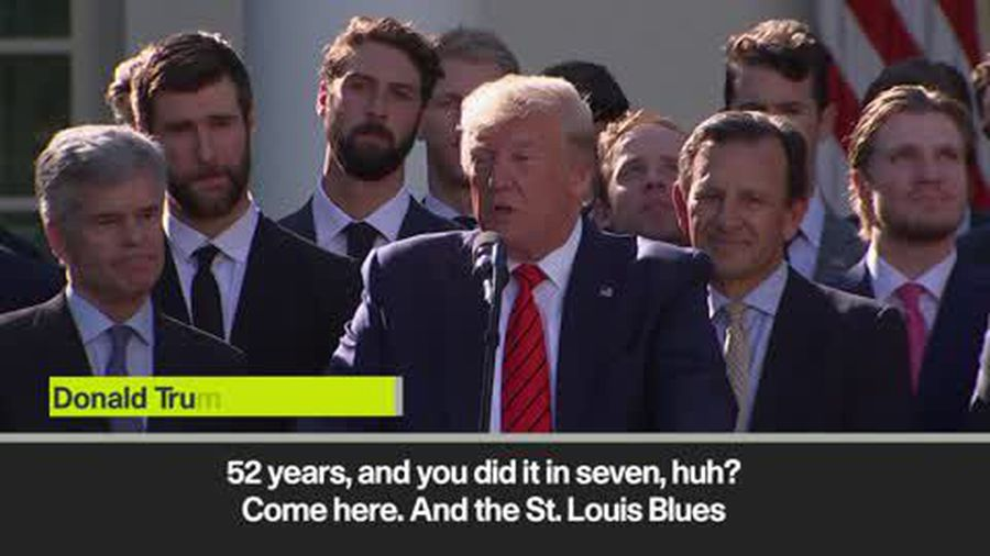 Donald Trump welcomes St. Louis Blues to the White House